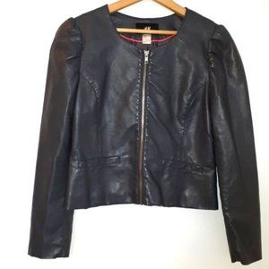H&M Grey Faux Leather Zip Jacket Size 10
